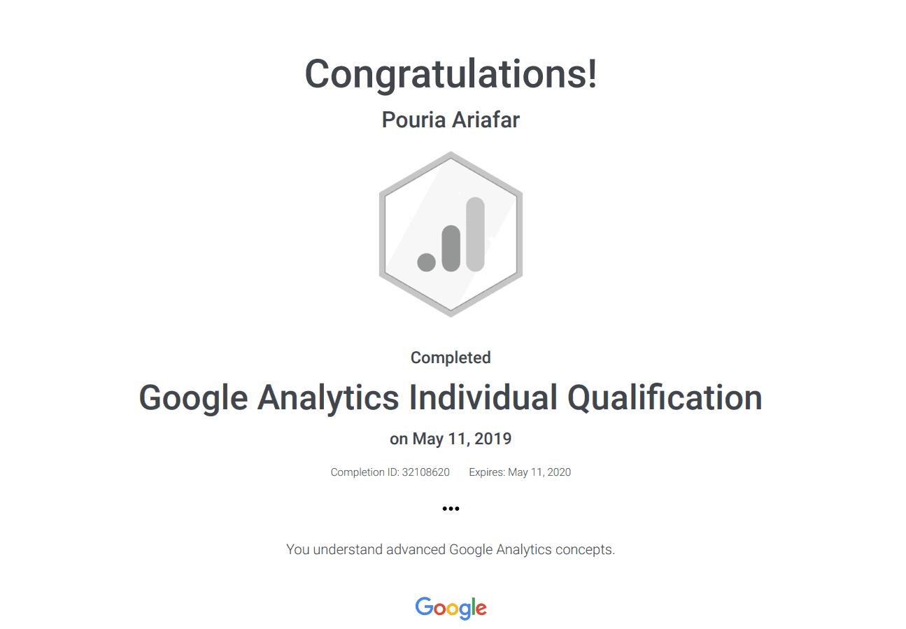 نمونه مدرک گوگل آنالیتیکس